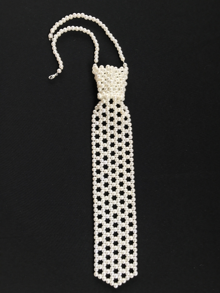 pearl necktie necklace handmade from woven faux pearls